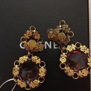 Authentic Chanel Gripoix Dangle Earrings